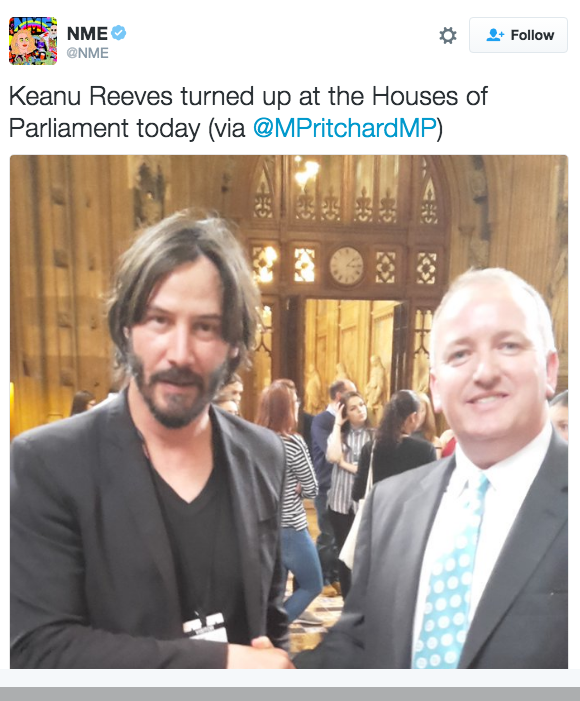 NME on Twitter Keanu Reeves turned up at the Houses of Parliament today via MPritchardMP https t.co VZwJfott6K